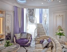 Лестница на второй этаж. Фото 2020 - Дизайн дома Dubai, Mansion Interior, Dining Room Design, Bed Design, Art Deco, Curtains, Living Room, Home Decor, Luxury Mansions