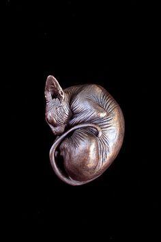 Sphynx Cat Resin Figurine Sleeping Sphynx Bronzed  - Beautiful