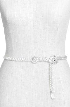 Tarnish - Skinny Braided Leather Belt, White