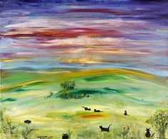 Field with black cats