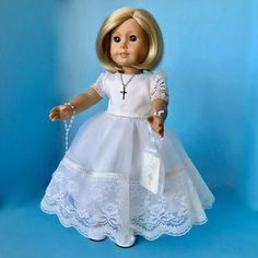 My Brittany/'s Lace Top Communion Gown W//Lace Trimmed Edges 4 American Girl Dolls