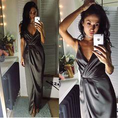 Купить Атласное платье с запахом - драпировка, вечернее платье, Новый Год, новый год 2017