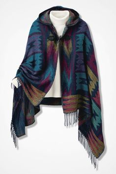 I just love this .... the style, the colors.  Great winter piece.  Whispering Winds Hooded Ruana - Coldwater Creek
