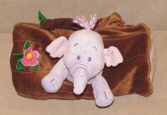 "Disney Store 8"" Heffalump Purple Play Pals Lumpy Plush Purse Bag Brown Log Set #Disney"