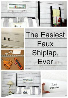 The Easiest Faux Shiplap, Ever - The Red Painted Cottage Peel And Stick Shiplap, Peel And Stick Floor, Faux Wood Wall, Faux Walls, Flooring On Walls, Plank Walls, Floors, Shiplap Bathroom, Wainscoting