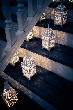 Use small LED candles inside lanterns to light the way to your outdoor living space.Moroccan lanterns lined on the stairs Moroccan Lanterns, Moroccan Decor, Moroccan Lighting, Moroccan Style, Turkish Decor, Turkish Style, Moroccan Bedroom, Moroccan Wedding, Moroccan Interiors