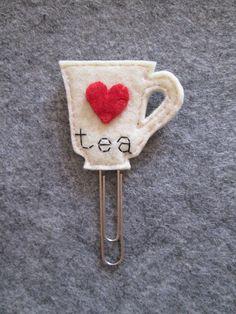 Tea cup bookmark - Felt bookmark - felt paper clip - Graffetta con Tazza da tè e Cuore Regalo per di TinyFeltHeart