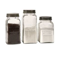 Imax Home 84776-3 Dyer Glass Canisters - Set of 3, Brown coffee