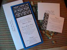 Simply Damask - Black, White and Cobalt Blue / Tibetan Blue Damask Wedding Invitation - Sample via Etsy