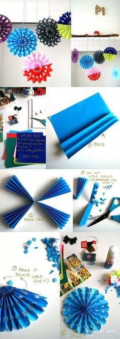 Kolorowe płatki śniegu z papieru