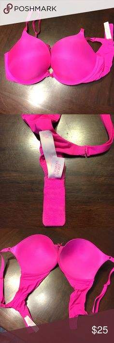 Victoria's Secret Sexy Neon Pink Push Up Bra VS hot neon pink push up bra. Barely worn great condition. The material is like a spandex almost? Padded but not super Padded. I have this in red too!  🍍 Have questions? Please ask! 💚 I love offers! 🍍 I won't be offended when you lowball only if you won't be offended when I counter.  💚 Please use the offer button or my 'Closet Rules' thread to negotiate bundles. 🍍  Refer to my handy chart for guidance on offers. 💚 Bundle & save! Victoria's…