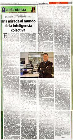 """""""Una mirada al mundo de la inteligencia colectiva"""". El doctor César Raúl Cárdenas nos introduce al completo y así mismo fascinante mundo de la inteligencia artificial la cual hace posible la existencia de mundos virtuales. Agrega que el avance en la tecnología no sera de mucha ayuda para afrontar los retos que en el 2000 la ONU se propuso, estos retos fueron, disminuir la pobreza, la mortalidad infantil, asegurar la sustentabilidad, entre otros."""