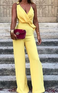 Cute yellow jumpsuit and burgundy red bag Yellow Jumpsuit, Jumpsuit Dressy, Sexy Dresses, Beautiful Dresses, Fashion Dresses, Dress The Population, Homecoming Dresses, High Fashion, Party Dress