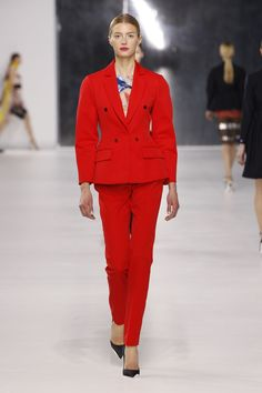Dior Cruise 2014 – Look 4: Red wool jacket with red wool pants. Discover more on www.dior.com #Dior