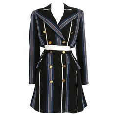 Vivienne Westwood tweed striped skirt suit, circa 1995 | From a collection of rare vintage suits, outfits and ensembles at https://www.1stdibs.com/fashion/clothing/suits-outfits-ensembles/