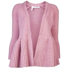 10 Crosby By Derek Lam Peplum Cardi ($248) ❤ liked on Polyvore featuring tops, cardigans, jackets, sweaters, pink, long sleeve cardigan, pink long sleeve top, cardigan top, long-sleeve peplum top and peplum cardigan