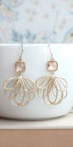 Peach Wedding Feather Earrings. Gold Feathers, Champagne Blush Peach Glass Framed Glass Drop Earrings.