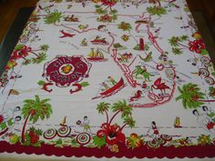 Vintage Florida tablecloths  1940s bathing by 3floridagirls