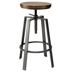 Adjustable Bar Stool in Solid Elm Wood and Metal Gun