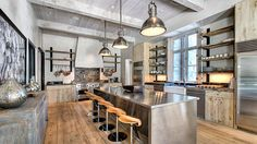 Check out 25 whimsical industrial kitchen design ideas and you'll find some inspiration to design an industrial-style kitchen there. Industrial Kitchen Design, Rustic Kitchen Cabinets, Farmhouse Kitchen Decor, Industrial House, Industrial Interiors, Interior Design Kitchen, Kitchen Designs, Kitchen Ideas, Modern Industrial