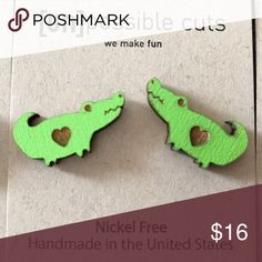 Handcrafted Cute Wooden Alligator Heart Earrings Handcrafted and made in the USA, these wooden earrings are nickel Free & sure to get lots of compliments! unpossible cuts Jewelry Earrings