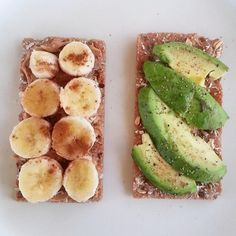 Wheat toast, peanut butter with bananas and avocado-healthy!