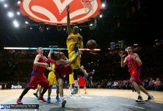 Alex Tyus, basketball player of Maccabi Tel Aviv, was wearing Nike Zoom HyperRev - Vivid Blue/University Gold/Deep Royal Blue during the match against CSKA Moscow Basket. 16.5.2014 http://www.youtube.com/watch?v=D5u1ABdeEmg