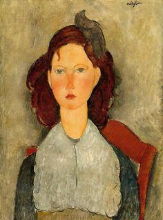 Амедео Модильяни -  Молодая девушка, сидя  (1918) - Вашингтон. Национальная галерея искусств (США)