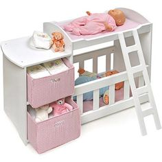 Badger Basket Doll Crib and Changing Station with 2 Baskets, White Cool Bunk Beds, Kids Bunk Beds, Crib Toys, Baby Toys, Baby Doll Strollers, Baby Doll Nursery, Baby Alive Dolls, Baby Doll Accessories, Bunk Bed Designs
