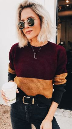 knit sweater and black jeans Street style, street fashion, best street style, OOTD, OOTD… Maroon and Gold Color Block Sweater with Black Belted Jeans 30 Chic Fall Outfit Ideas – Street Style Look. 38 Insanely Cute Casual Style Looks To Copy Now – 30 Look Fashion, Autumn Fashion, Fashion Outfits, Street Fashion, Womens Fashion, Guy Fashion, Jeans Fashion, Latest Fashion, Fashion Beauty