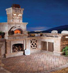 Built-in brick oven in built-in backyard kitchen!!!!
