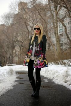 skinny jeans and floral coat with rain boots