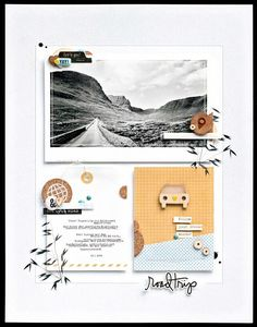 *road trip* by JanineLanger at Studio Calico Minus the leaves. Studio Calico, Scrapbook Paper Crafts, Scrapbook Supplies, Scrapbook Cards, Paper Crafting, Travel Scrapbook Pages, Scrapbook Page Layouts, Scrapbook Sketches, Layout Design