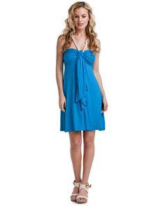 Southern Frock Blue Rope Neck Halter Dress- $50 on sale