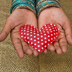 Will you take my heart? | @FairMail - Fair Trade Cards | Valentine's Day Car | Hands, Heart, Red with Poka Dots