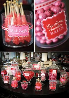 Shades of Red and Pink Candy Table Red Candy Buffet, Candy Buffet Tables, Dessert Buffet, Dessert Bars, Buffet Ideas, Candy Red, Dessert Tables, Rock Candy, Bar A Bonbon