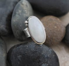 Sterling Silver Rainbow Moonstone Patterned Band Ring