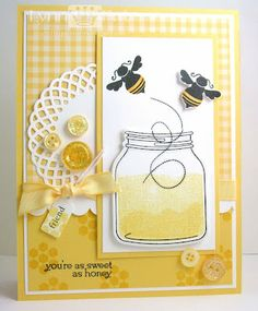 love the sketch layout, bees, dies, jar ... it's only making me want a honeycomb background stamp MORE ... sigh ...