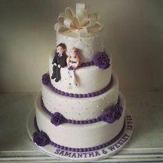 #wedding #weddingcake#purple #roses #fondant #topper #handmade