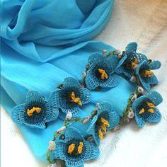 Turkish OYA Lace Flower stole Skyblue by DaisyCappadocia on Etsy