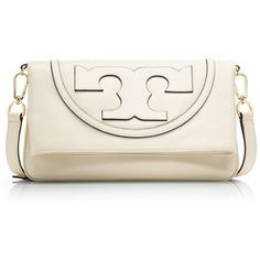 Tory Burch All-T Suki Fold-Over Messenger featuring polyvore, fashion, bags, messenger bags, new ivory, leather crossbody, foldover messenger bag, cross body messenger bag, leather cross body messenger bag and white crossbody