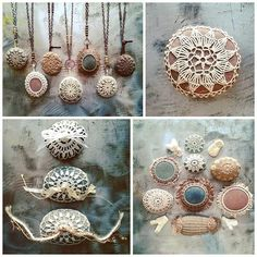 Good morning friends!  Nature and thread. #monicaj #etsy #original #handmade #nature #rock #stone #fiberart #lace #folk #lacestones #thread #etsyartist #bohemianstyle #bohostyle #thread #etsyartist #designer #artist #artlistartist #fringe #crochet #jewelry #tabledecor #decorating #necklace #bride #wedding #ringbearer #uniquegift