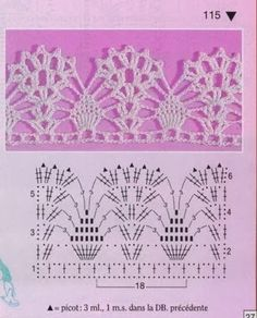Kira scheme crochet: Schemes pineapple in lace Crochet Border Patterns, Crochet Boarders, Crochet Lace Edging, Crochet Mandala, Crochet Diagram, Crochet Chart, Filet Crochet, Crochet Doilies, Crochet Stitches