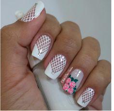 Happy Nails, Pretty Nail Art, Flower Nails, Easy Nail Art, French Nails, Nail Arts, White Nails, Spring Nails, Beauty Nails