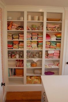 Love the open shelving in this sewing room.Would be great built ins for my office! Sewing Room Storage, Sewing Room Organization, Craft Room Storage, My Sewing Room, Sewing Rooms, Fabric Storage, Organizing Crafts, Organization Ideas, Storage Ideas