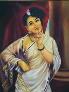 Oil Paintings of Raja Ravi Verma picturing kerela women of 1800's