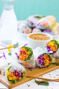 Fresh Spring Rolls with Peanut Ginger Sauce