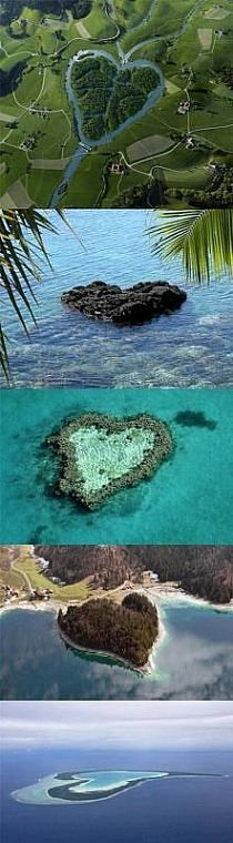 Hearts in Nature! Including the Great Barrier Reef in Australia.