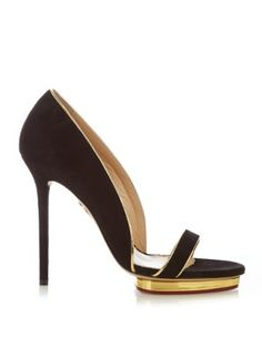 Christine metallic-piped suede sandals    Charlotte Olympia   MATCHESFASHION.COM UK