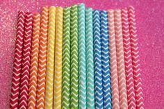 50 Rainbow Chevron Straws, Wedding Straws, Rainbow Party, Stripe Straws, Party Straws on Etsy, $8.00